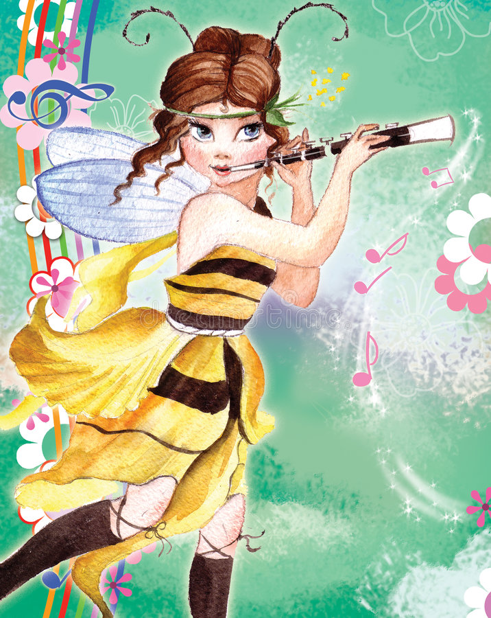 Music elf. The water-colour (raster) illustration of the little elf girls with wings for the postcards royalty free illustration