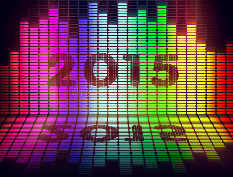 2015 music equalize. Isolated on black background royalty free stock image