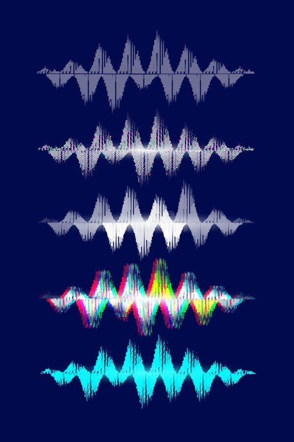 Music equalizer set on blue background. Sound dynamic dots. Vector illustration. royalty free illustration
