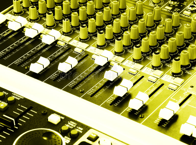 Music Equalizers & Mixers Console Of DJ Stock Images