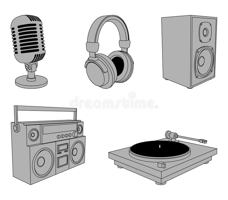 Music equipment. Set of 5 music devices, isolated on white background stock illustration