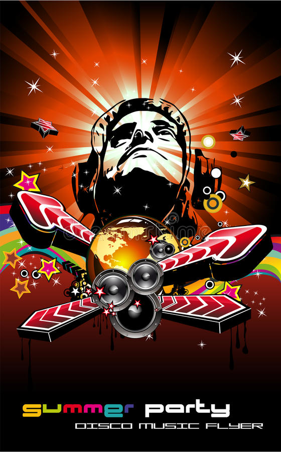 Music Event Background with Disk Jockey Shape