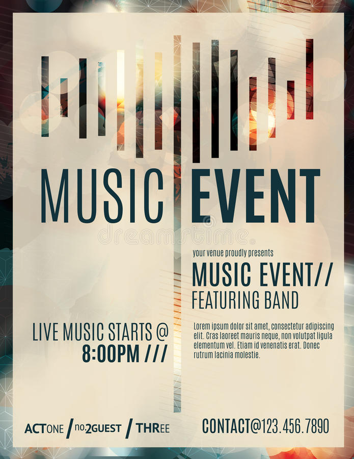 Music Event Flyer Template Stock Vector Illustration Of Blurry