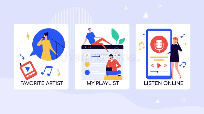 Music fans leisure time vector banner template. Watching favorite artists video, live performance. Selecting songs for playlist. Mobile application for vector illustration
