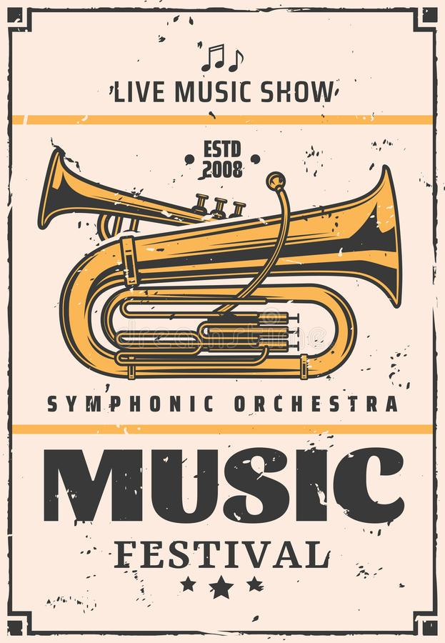 Live music show and festival, vector trumpet stock illustration