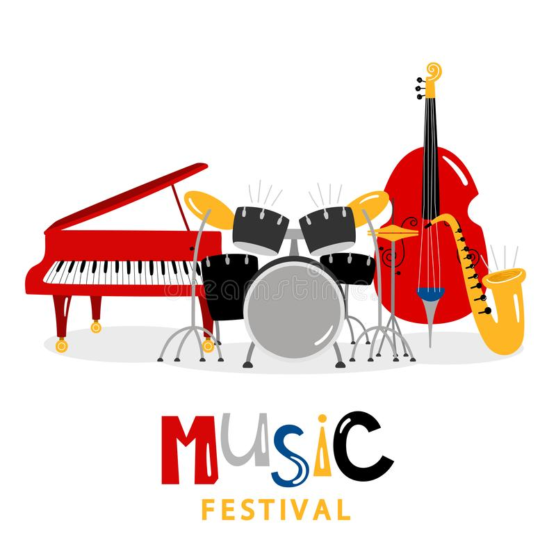 Music festival background with color music instruments isolated on white background. Illustration of music festival, sound instrument, piano and trumpet vector illustration