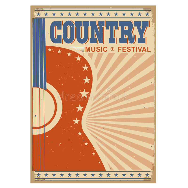 Country Music Wallpaper: Music Festival Background With Guitar.Vector Poster On