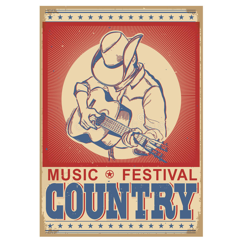 Music festival background with musician playing guitar. Vector retro poster with text vector illustration