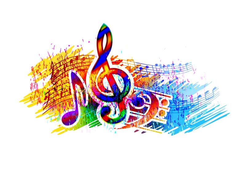 Music festival background for party, concert, jazz, rock festival design with music notes, treble clef and bass clef. Music festival background with music notes royalty free illustration
