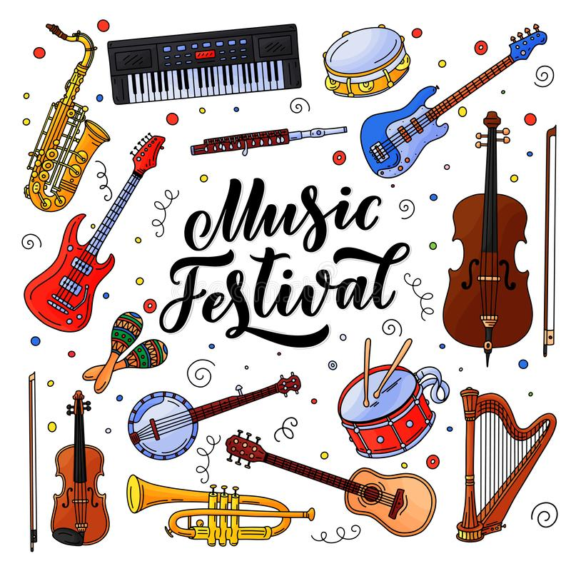 Music festival banner or poster design. Vector illustration. Hand drawn calligraphy, jazz and rock music instruments royalty free illustration