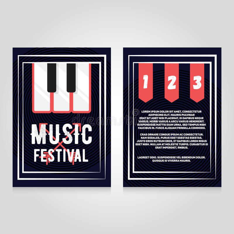 Music festival brochure flier design template. Vector concert poster illustration. Leaflet cover layout in A4 size.  royalty free illustration