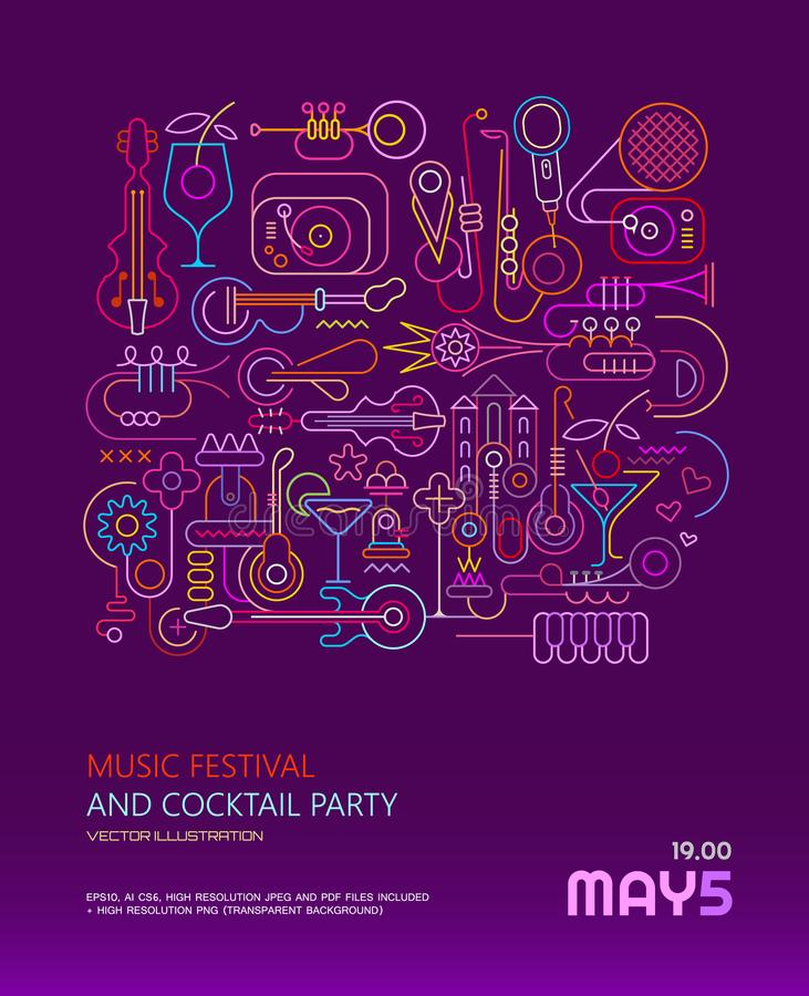 Download Music Festival And Cocktail Party Poster Stock Vector