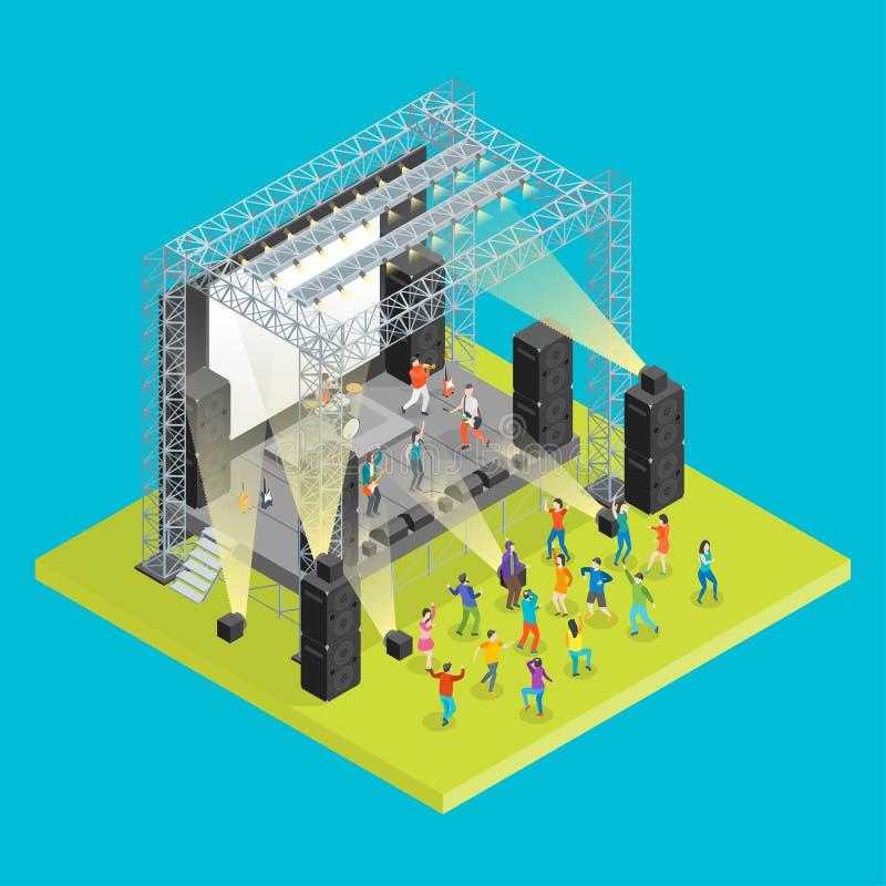 Music Festival Concept 3d Isometric View. Vector stock illustration