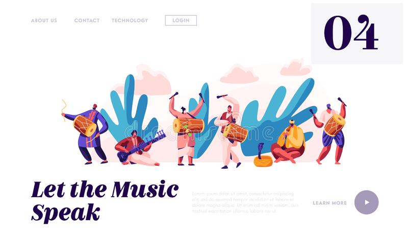 Music Festival in India Landing Page. Musician Playing Musical Instrument Dhol, Drum, Flute and Sitar at National Instrumental. Ceremony in Asia Website or Web vector illustration