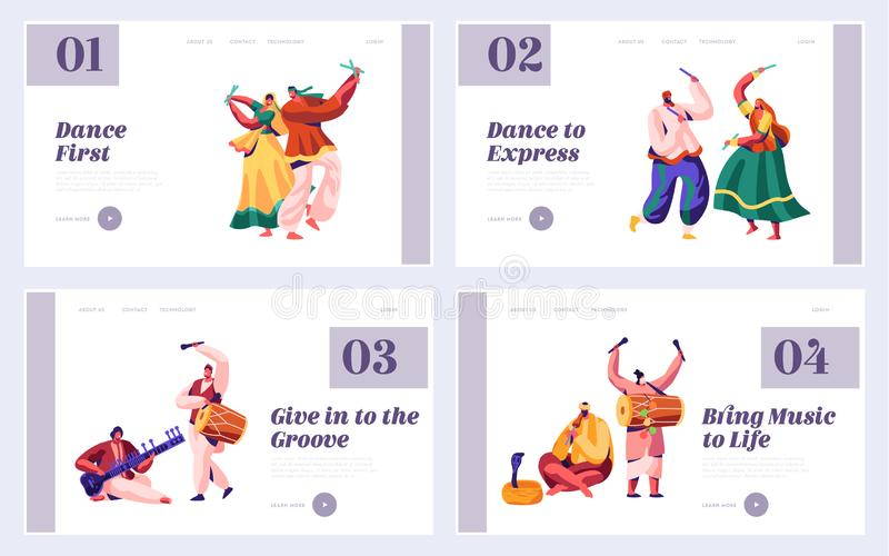 Music Festival in India Landing Page Set. Musician Playing Musical Instrument Dhol, Drum, Flute and Sitar at National Instrumental. Ceremony Asia Website or Web vector illustration