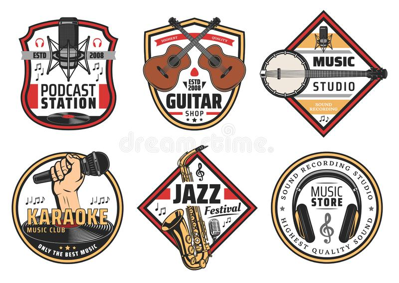 Music festival karaoke or studio instruments icons. Musical instruments and devices for listening icons and signs for music festival, store, podcast station and vector illustration