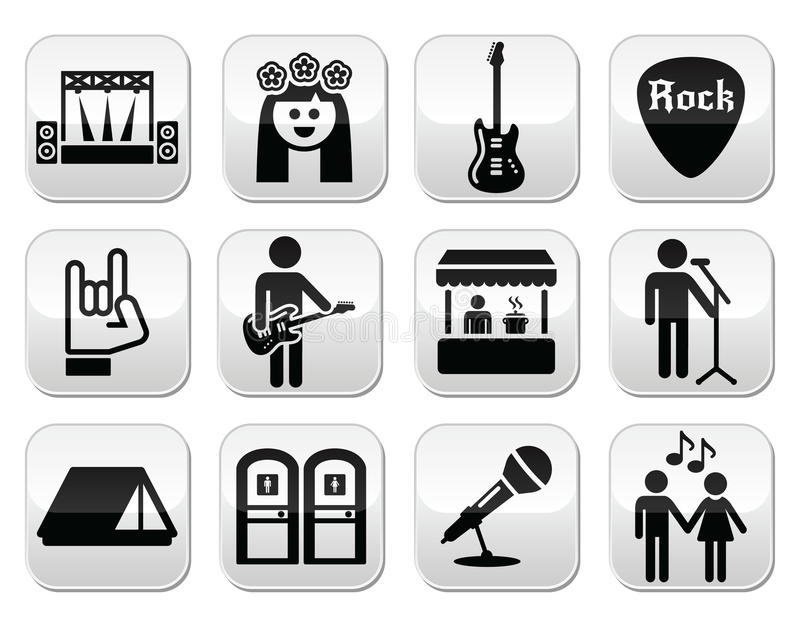 Music Festival Live Concert Vector Buttons Set Stock Vector