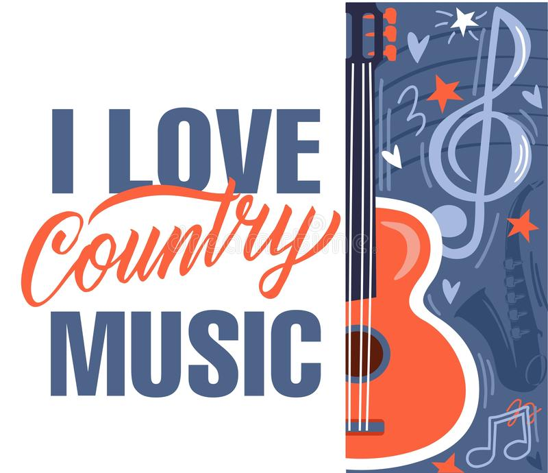 Music Festival live event Creative Poster Concept. I love country music. Country Music Festival live event Creative Poster Concept. Acoustic guitar, elements for stock illustration
