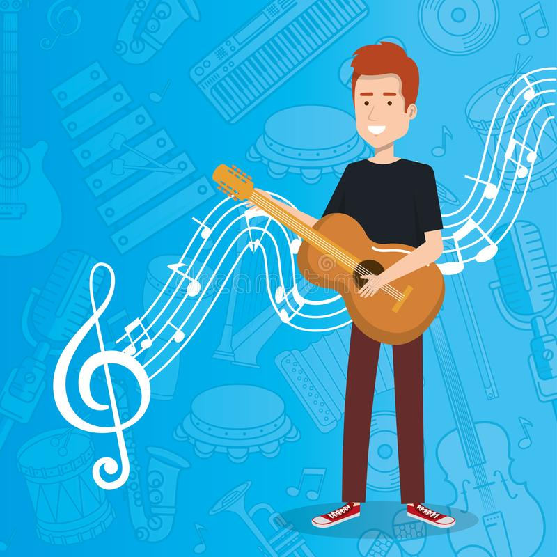 Music festival live with man playing acoustic guitar. Vector illustration design stock illustration