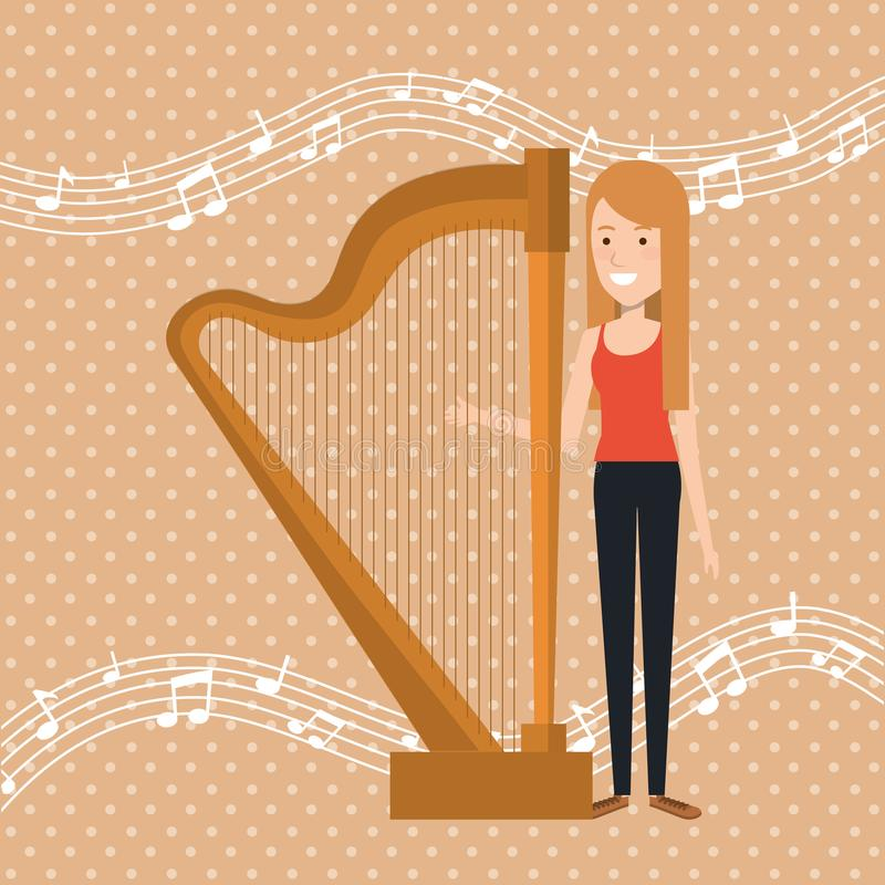 Music festival live with woman playing harp. Vector illustration design vector illustration