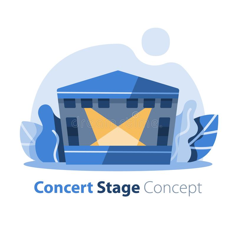 Music festival, outdoor concert stage with gabled roof, entertainment performance, festive event arrangement vector illustration