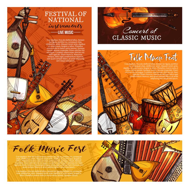Music festival poster of musical instruments. Live music festival or national and ethnic folk musical instruments posters and banners templates. Vector set of stock illustration