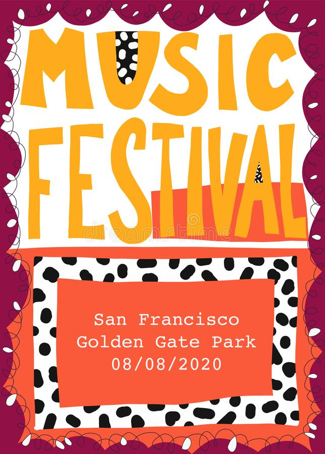 Music festival poster template hand drawn vector illustration vector illustration