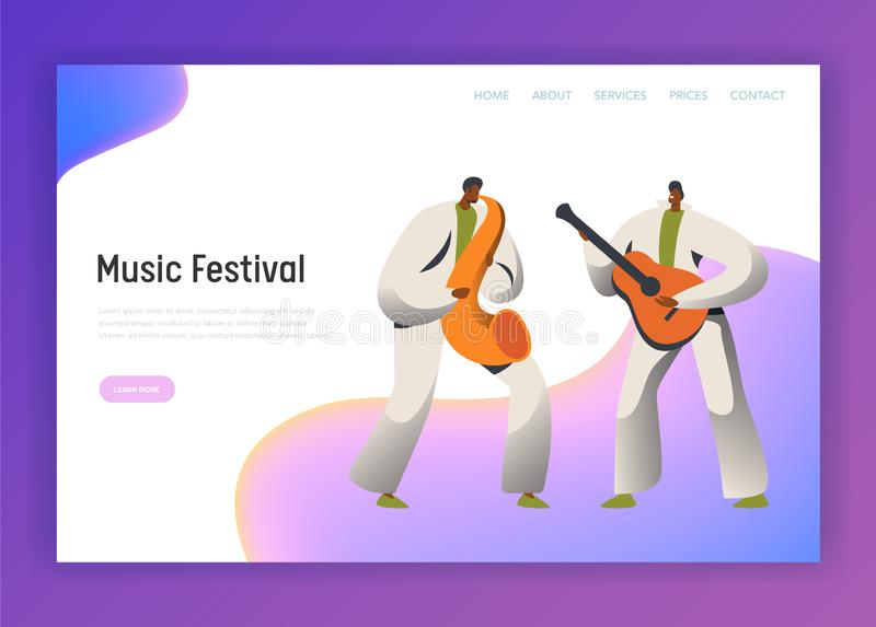 Music Festival Saxophone Man Character Landing Page. Male Play Guitar in Classic Costume at Rio de Janeiro Festival. Brazil Carnival People for Website or Web vector illustration