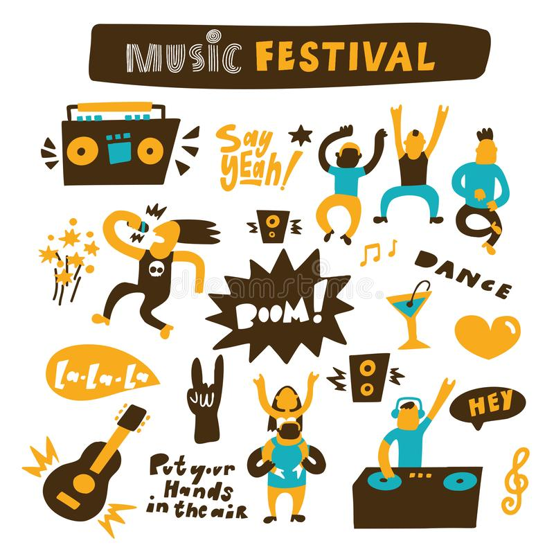 Music festival. Vector illustration of happy dancing people. Doodle style. Typography poster. vector illustration