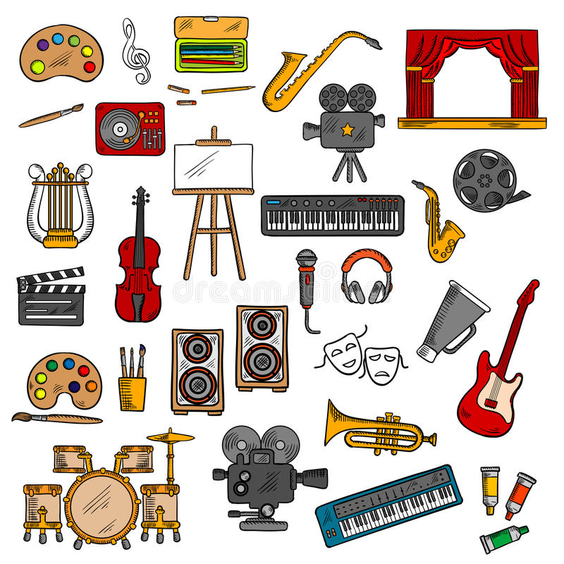 Music, fine art, cinema and theater icons royalty free illustration