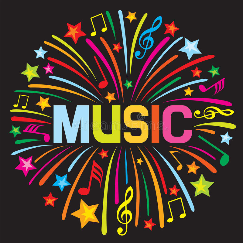 Music firework vector illustration