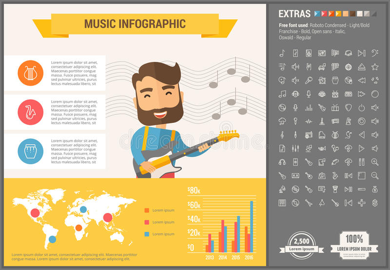 Music flat design Infographic Template stock illustration