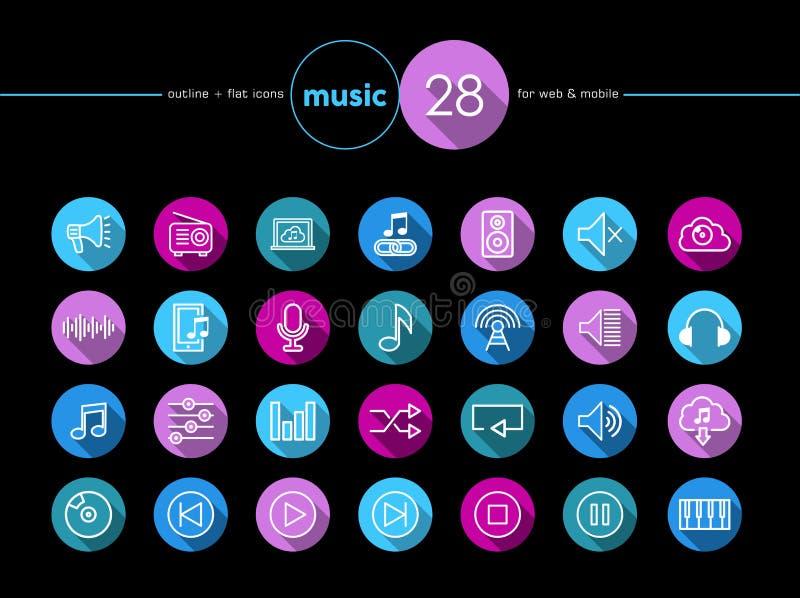 Music flat icons set vector illustration