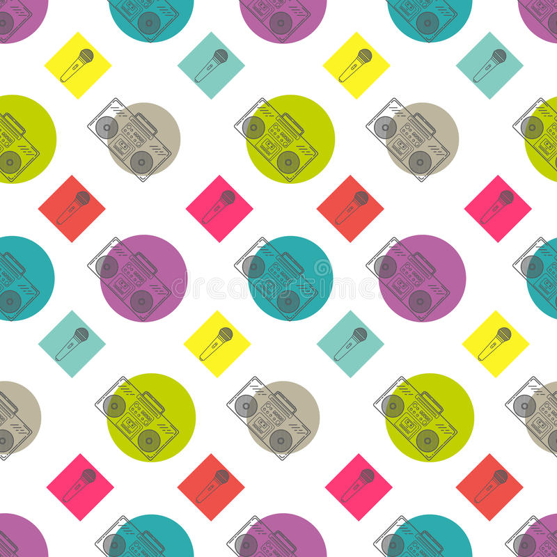 Music flat line retro seamless pattern with. Boombox, mic, cassete. Vector illustration for your artwork, poster, banners, print royalty free illustration
