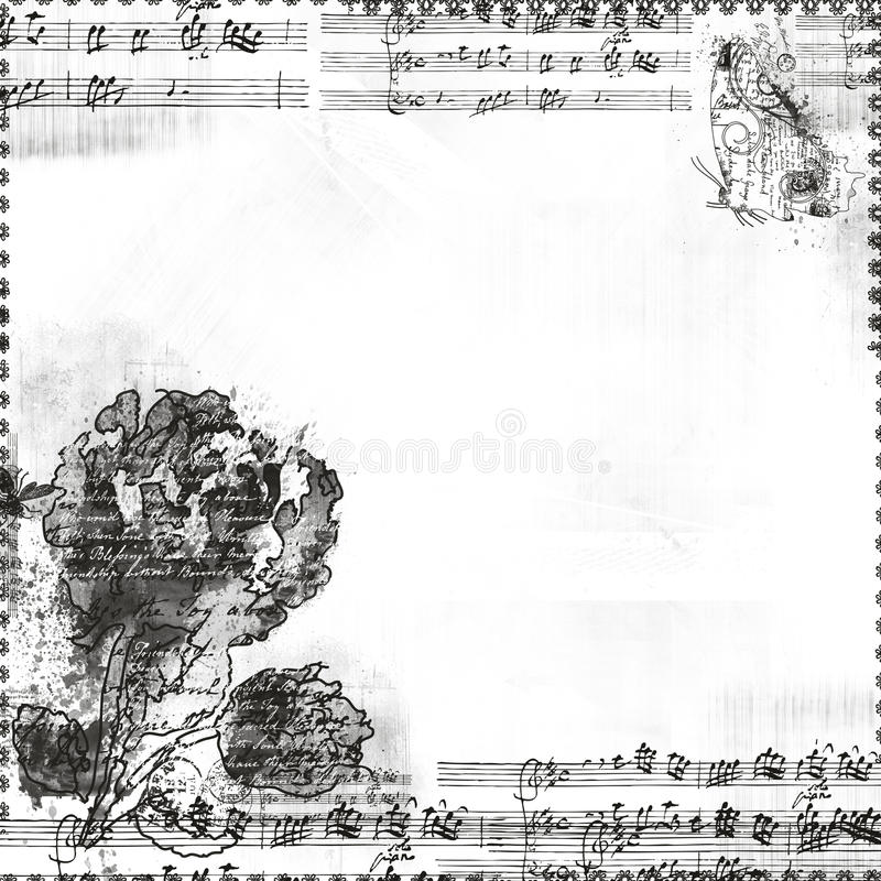 Music With Flowers And Butterfly Frame Or Overlay Stock Photo