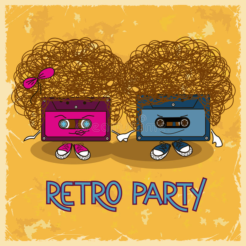 Music flyer with cassette tapes royalty free illustration