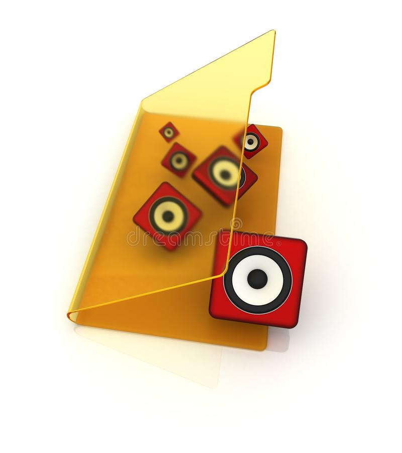 3d Yellow Folder Icon With Musical Notes Stock Illustration