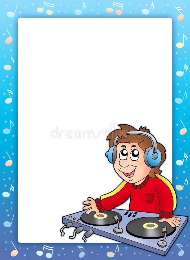Music Frame With Cartoon DJ Boy Stock Illustration - Illustration of ...