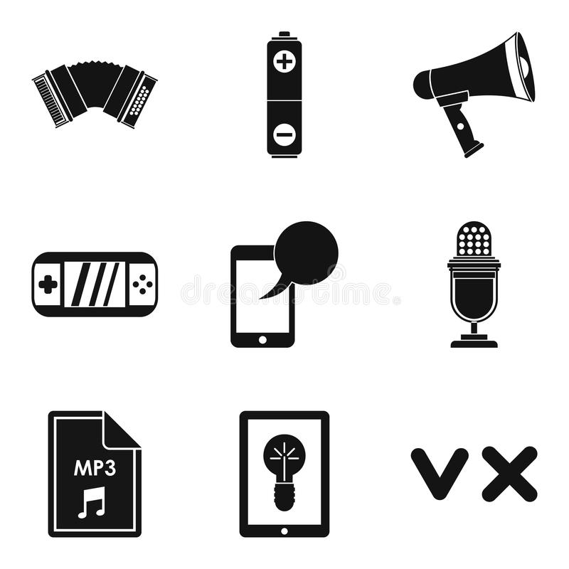 Music genre icons set, simple style vector illustration