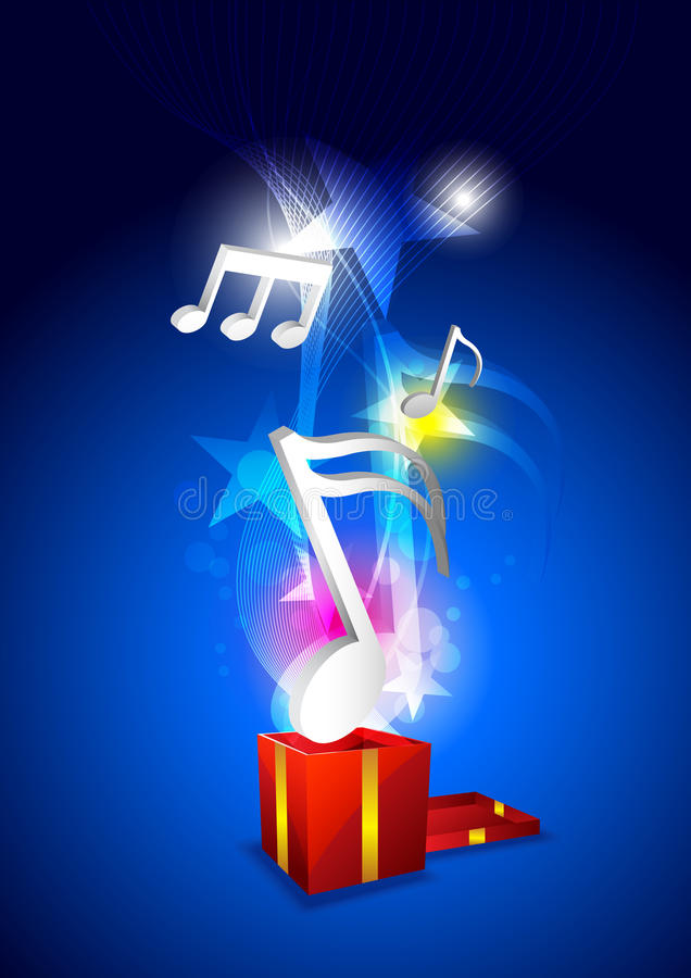 Download Music from gift box stock vector. Illustration of melody - 26526433
