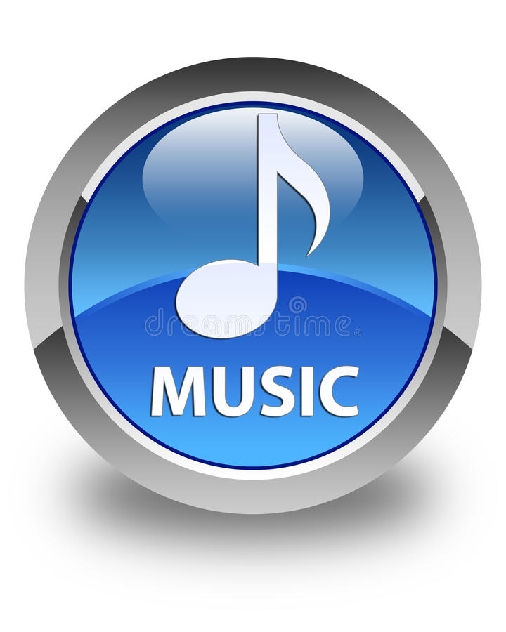 Music glossy blue round button. Music isolated on glossy blue round button abstract illustration stock illustration