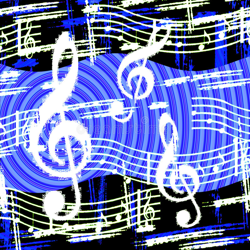 Music Goes 'Round. Musical theme fun blue and black circular background with contrasting white music symbols stock illustration