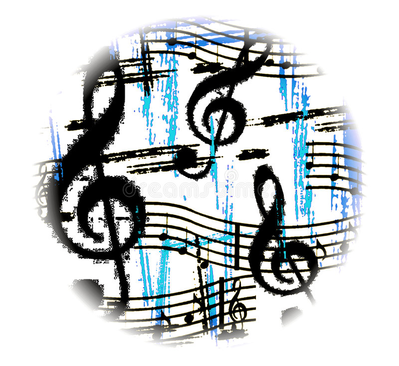 Music goes round grunge. Musical symbols in blues and black grunge style in a circular white vignette royalty free illustration