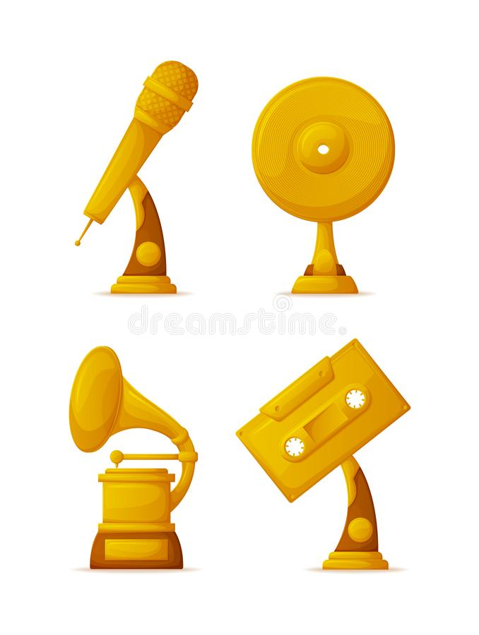 Music Gold Prize Trophies, Musical Art Awards royalty free illustration