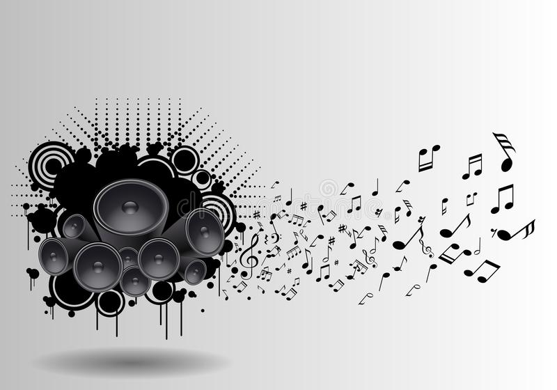 Music grunge poster with speaker and notes flying vector illustration