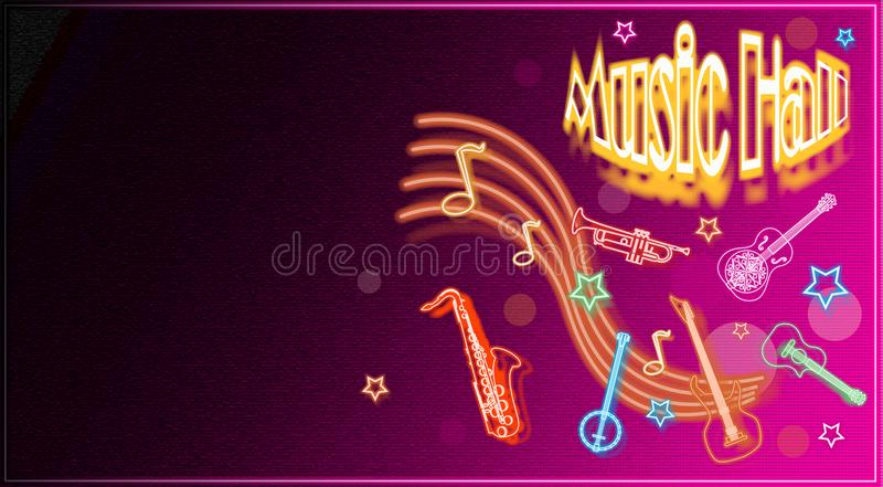 Music-hall is an illustrated poster, with musical instruments vector illustration