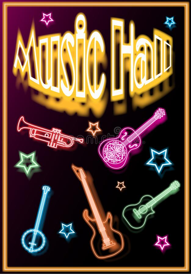 Music-hall is an illustrated poster, with musical instruments stock illustration