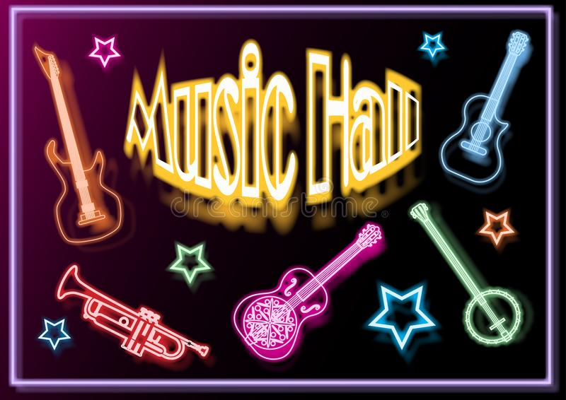 Music-hall, poster, with musical instruments royalty free illustration