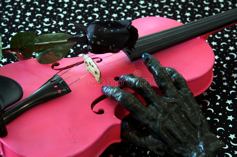 Music and Halloween Pink Violin royalty free stock images