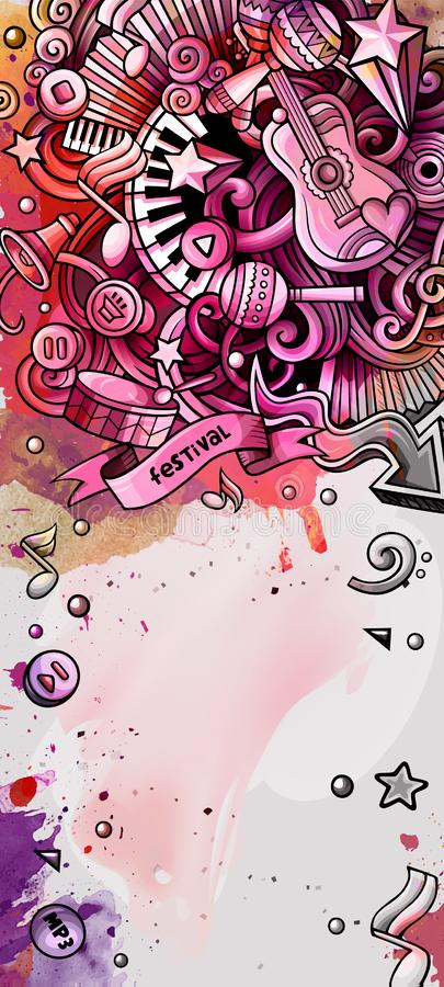 Music hand drawn doodle banner. Cartoon detailed illustrations. Musical identity with objects and symbols. Watercolor vector design elements background royalty free illustration